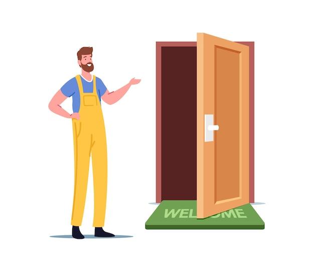 Naprawa budowlana, zadzwoń do mistrza męskiej postaci w roboczym kombinecie, prezentując nowe drzwi w mieszkaniu
