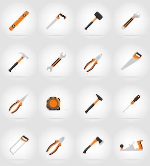 Naprawa i budowa narzędzi płaskich ikon wektorowych ilustracji
