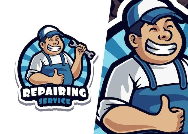 Naprawa ilustracja logo maskotka usługi