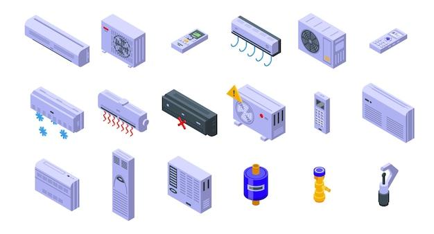 Naprawa klimatyzatora ikony zestaw izometryczny wektor. zainstaluj ciepło