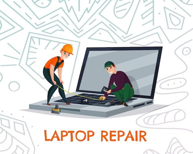 Naprawa laptopa z symbolami pracy elektroniki i technologii