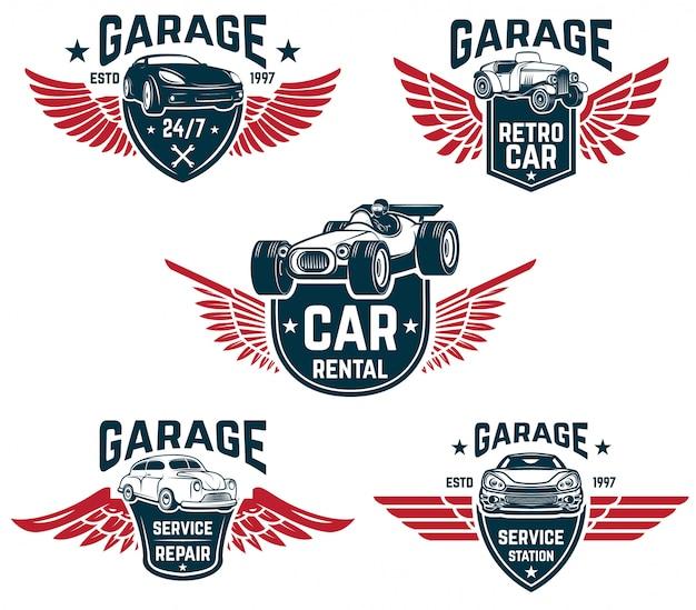 Naprawa samochodów, garaż, emblematy serwisu samochodowego. elementy logo, etykiety, znak. wizerunek