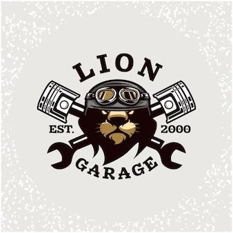 Naprawa samochodów głowy lwa i niestandardowe logo garażu.