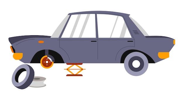 Naprawa samochodów osobowych, izolowany samochód zakładany na podnośnik. naprawianie auta w garażu lub centrum usług specjalnych. wymiana przebitej opony pojazdu lub wymiana starej gumy. wyposażenie mechaniczne. wektor w mieszkaniu