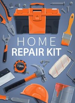 Naprawa, zestaw narzędzi do budowy domu, skrzynka narzędziowa i wyposażenie budowlane