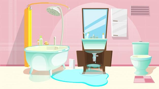Naprawa zlewu, pęknięta lub zniszczona rura w łazience.