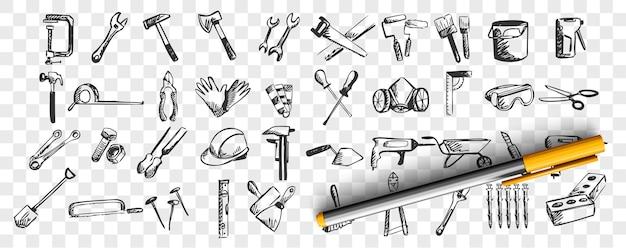 Naprawia zestaw doodle. zbiór ręcznie rysowane wzory szkice szablony narzędzi roboczych i instrumentów łopatka wiertła śrubokręt na przezroczystym tle. ilustracja sprzętu do konserwacji.
