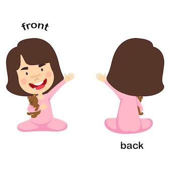 Naprzeciwko ilustracji wektorowych z przodu iz tyłu
