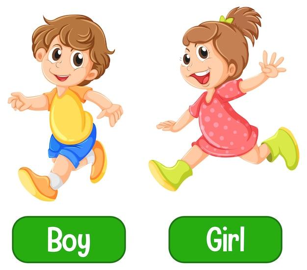 Naprzeciwko przymiotnik słowa z chłopcem i dziewczyną na białym tle