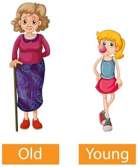 Naprzeciwko przymiotników wyrazy ze starym i młodym
