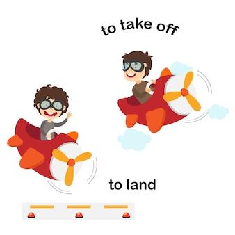 Naprzeciwko słów do lądowania i do startu ilustracja
