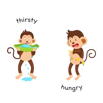 Naprzeciwko spragnionej i głodnej ilustracji