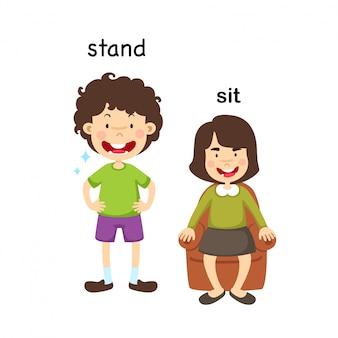 Naprzeciwko stoją i siedzieć ilustracji wektorowych