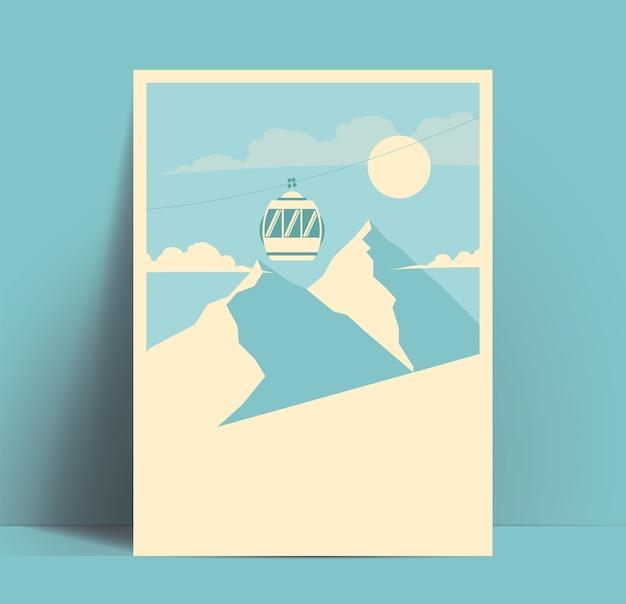 Narciarstwo, snowboard lub zima plakat lub szablon ulotki z sylwetkami gór i kabiną wyciągu górskiego oraz puste miejsce na tekst.