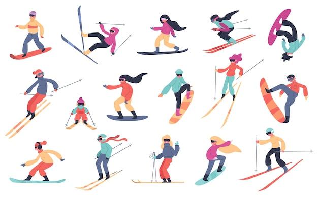 Narciarstwo snowboardowe ludzi. sporty zimowe, młodzi ludzie na snowboardzie lub nartach, zestaw ilustracji sportów ekstremalnych górskich. ekstremalny snowboard, narty sportowe i snowboard