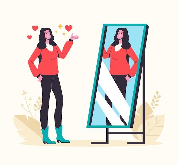 Narcystyczna kobieta patrząc w lustro i zakochuje się w sobie.