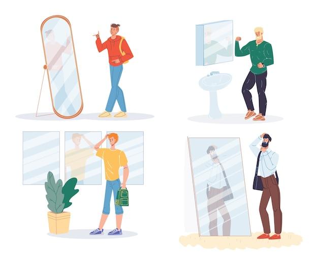 Narcystyczny mężczyzna pozowanie przed lustrem na białym tle zestaw.