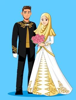 Narodowa panna młoda nosi czarne, białe i złote garnitury.