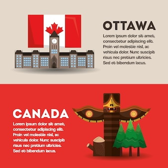 Narodowe zabytki banery informacje ottawa i kanada