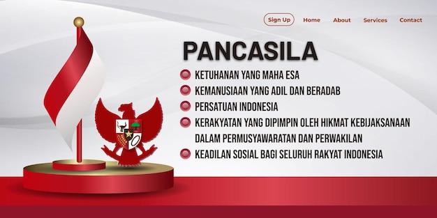 Narodowy baner dnia pancasila w indonezji z ilustracją podium