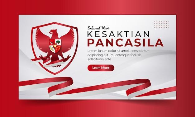 Narodowy baner indonezyjskiego dnia pancasila z czerwonym i białym tłem