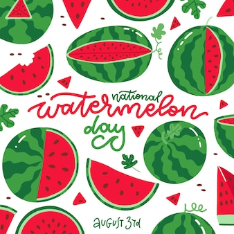 Narodowy dzień arbuza kwadratowa kartka na białym tle wiele świeżych soczystych czerwonych owoców z literami...
