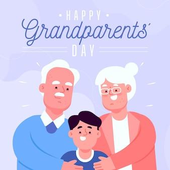 Narodowy dzień dziadków w płaskiej konstrukcji