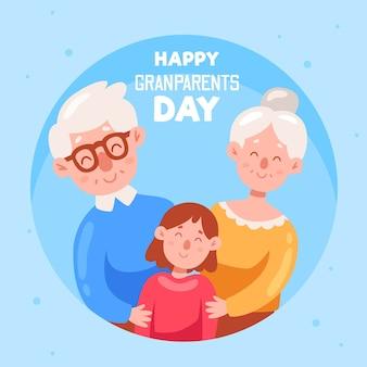 Narodowy dzień dziadków z dziadkami i dzieckiem