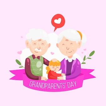 Narodowy dzień dziadków z młodą osobą i dziadkami