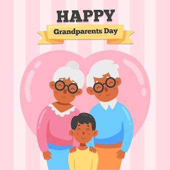 Narodowy dzień dziadków ze starszymi ludźmi i dzieckiem