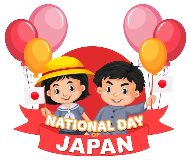 Narodowy dzień japonii baner z postacią z kreskówek japońskich dzieci