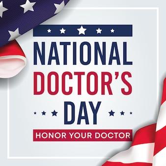 Narodowy dzień lekarza napis tło usa z flagą usa i tekstem - stany zjednoczone ameryki