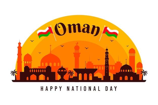 Narodowy dzień omanu o zachodzie słońca