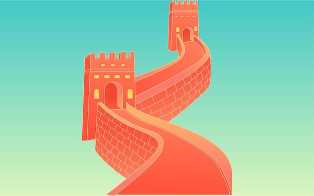 Narodowy dzień złoty tydzień miasto podróż ilustracja chiński styl budynku plakat