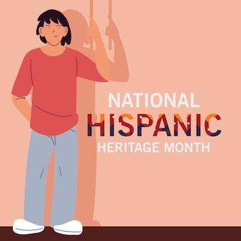 Narodowy miesiąc dziedzictwa latynoskiego z kreskówkami latynosów, ilustracjami z motywem kultury i różnorodności