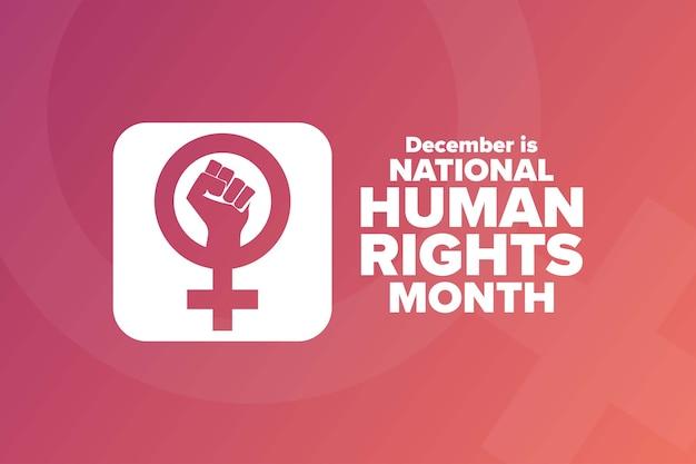 Narodowy miesiąc praw człowieka. koncepcja wakacje.