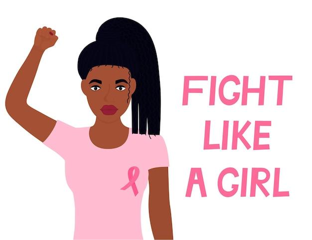Narodowy miesiąc świadomości raka piersi. african american kobieta podniosła pięść. banner walcz jak dziewczyna.