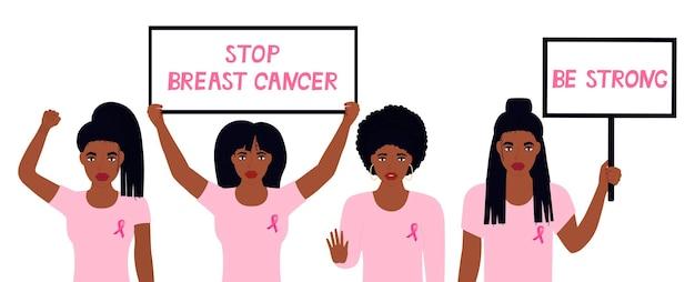Narodowy miesiąc świadomości raka piersi. afroamerykanka uniosła pięść. dziewczyny trzymają banery. czarna dziewczyna pokazuje gest stop. wezwanie do troski o zdrowie kobiet.