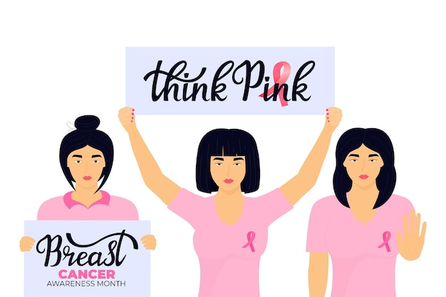 Narodowy miesiąc świadomości raka piersi. grupa azjatek z różowymi wstążkami.