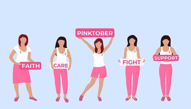 Narodowy miesiąc świadomości raka piersi. grupa młodych kobiet z różową wstążką na piersiach trzyma szyldy.