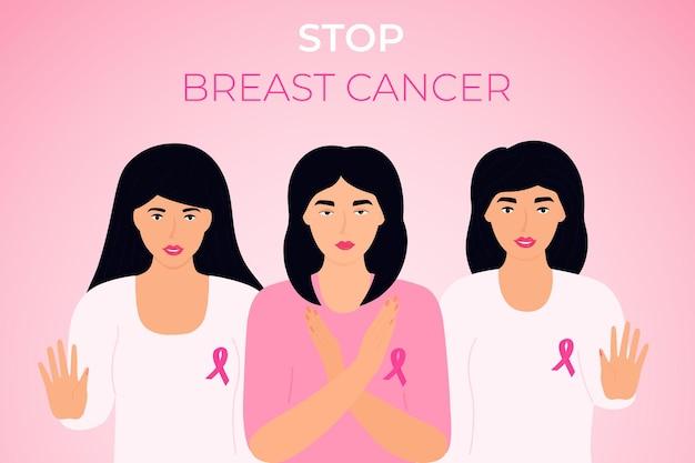 Narodowy miesiąc świadomości raka piersi. grupa różnorodnych kobiet z różową wstążką na piersi pokazującą gest zatrzymania
