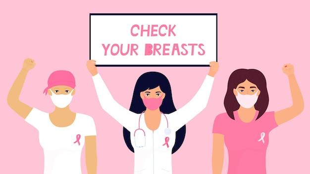Narodowy miesiąc świadomości raka piersi. lekarz w masce ochronnej trzyma plakat. dziewczyna miała na głowie chustę po chemioterapii iz różową wstążką na koszulce uniosła pięść do góry.