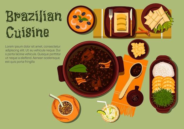Narodowy tradycyjny gulasz z brazylijskiej czarnej fasoli feijoada z bekonem i kiełbasą podawany z ryżem i owocami pomarańczy, gulaszem z krewetek vatapa i smażoną skórką wieprzową torresmo, caipirinha z koktajlem limonkowym