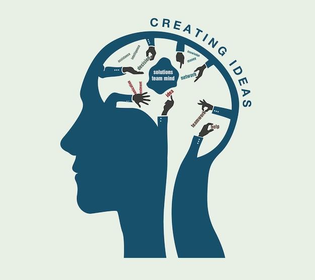 Narodziny pomysłów w koncepcyjnej ilustracji ludzkiej głowy