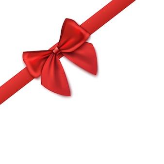 Narożnik dekoracyjny - czerwona satynowa wstążka z kokardą