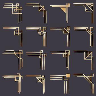 Narożnik w stylu art deco. nowoczesne rogi graficzne dla granicy ze złotym wzorem vintage. zestaw ramek dekoracyjnych złote linie mody 1920 roku