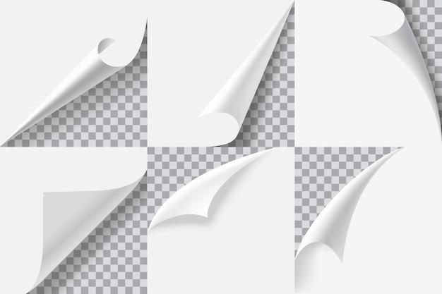 Narożniki strony realistyczna zwinięta naklejka do obierania krawędzi papieru obracanie zestawu stron książki book