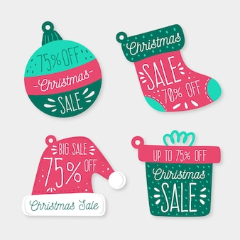 Narysował kolekcję tagów świątecznych sprzedaży