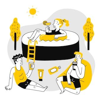 Narysowana grupa różnych ludzi z oparzeniami słonecznymi
