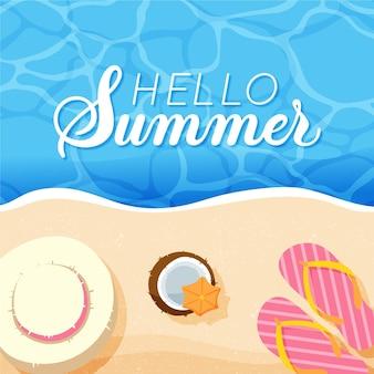 Narysowana ilustracja z napisem witaj lato